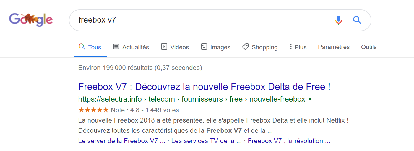 résultats moteurs de recherche freebox V7